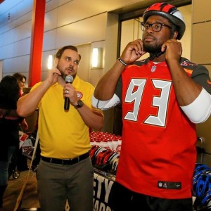 Bucs Gerald McCoy demonstrates proper helmet fit